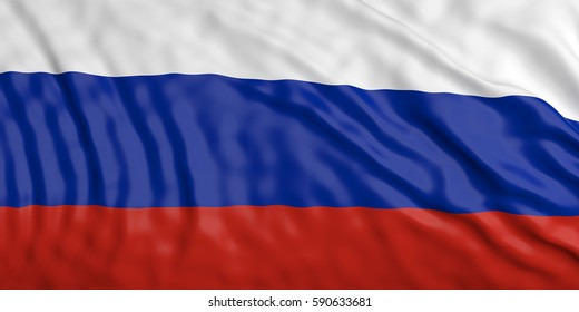 Waiving in the wind flag of Russia. 3d illustration