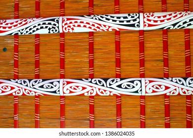 Waka canoe Pattern on the roof at the Waka Taua (War Canoes) at Waitangi Treaty Grounds in New Zealand 2012