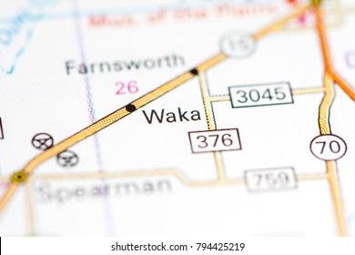 Waka. Texas. USA on a map