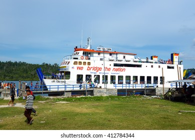 Wakai, Indonesia - Dec 21, 2015: Passenger ferry heading from Wakai on the Togean Islands to Gorontalo. Central Sulawesi