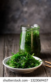 wakame and products from sea cabbage. Vegetarian food