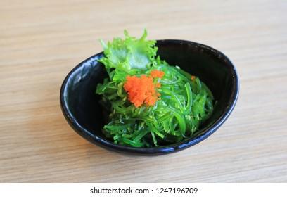 Wakame Salad with shrimp egg. Japanese food.
