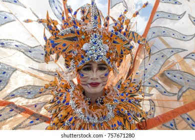 Wakatobi, Indonesia-Nov 11, 2017:Parade displaying colorful costume of Colossal Dancer with Ocean Wonders theme during Wakatobi Wave Festival. This is an annual ethnic event in Southeast Sulawesi.