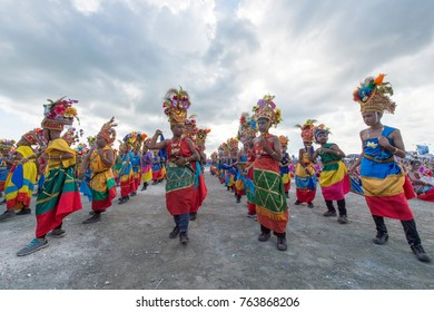 Wakatobi, Indonesia-Nov 11, 2017:School Children parade and perform dance with colourful traditional costumes during Wakatobi Wave Festival. This is an annual ethnic event in Southeast Sulawesi.