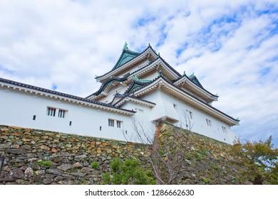 Wakayama Castle in Wakayama, Wakayama Prefecture, Japan, sits at the mouth of the Kii River. Originally Ota castle, home of the Saiga Ikki, it was captured by Toyotomi Hideyoshi in 1585.