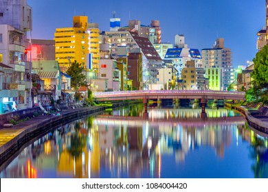 Wakayama City, Japan cityscape on the Waka River at night.