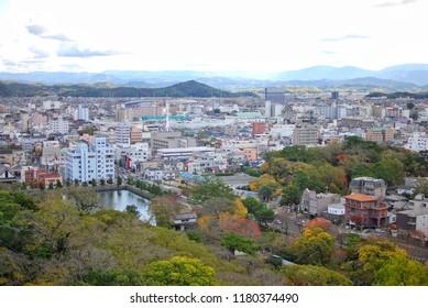 Wakayama cityscape, view from rooftop of the Wakayama castle.