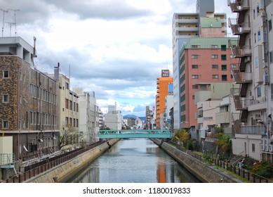 Wakayama, JAPAN - 25 November, 2016 : Canal in the wakayama, JAPAN. Both sides of the building.