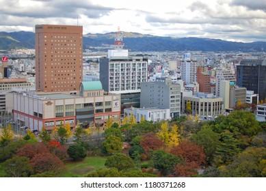 Wakayama, Japan - 25 November, 2016 : Wakayama cityscape, view from rooftop of the Wakayama castle.