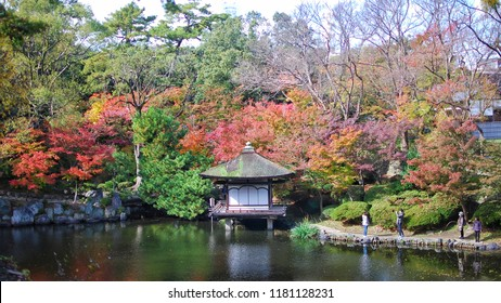 Wakayama, Japan - 25 November, 2016 : The pavilion at Momijdani Teien Garden in Wakayama Castle.