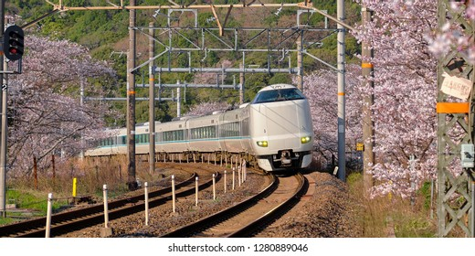 Wakayama, Japan - Circa April, 2018 : Limited Express train Kuroshio going around the bend surrounded by branches of  cherry blossom trees in bloom. Train is a 289 series