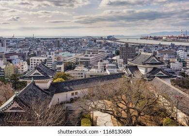 Wakayama / Japan - January 14th 2018 - Wakayama cityscape, view from the Wakayama castle.