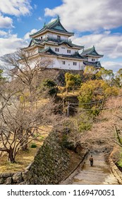 Wakayama / Japan - January 14th 2018: Wakayama Castle, in Wakayama Prefecture south of Osaka, built in 1585. Wakayama Castle did not survive World War II and present building is reconstructed in 1958.