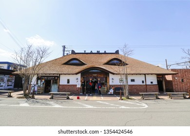 WAKAYAMA , JAPAN - MAR 26 2019 : The Kishi station was known for Tama the Station master is the cat name Tama 2nd generation, the famous country side travel in Wakayama.