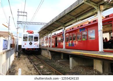 Wakayama, Japan - May 2018 : Beautiful train of Wakayama Kishigawa line on passengers service at nichizengu station, Wakayama city.