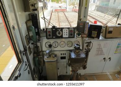 Wakayama, Japan - NOV 2018: Driver view of Wakayama Kishigawa railway train line. near Wakayama Station.