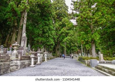 Wakayama, Japan - Nov 24, 2016. Tombstones with pine forest at Okunoin Cemetery on Mt. Koya (Koyasan) in Wakayama, Japan.
