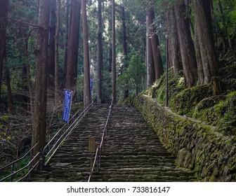 Wakayama, Japan - Nov 30, 2016. Kumano Kodo pilgrimage routes in Wakayama, Japan. Kumano Kodo refers to a network of pilgrimage trails through the southern Kansai region.
