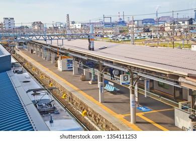Wakayama, Japan-October 2018: The Nankai train runs between Nankai Namba Station in central Osaka and Wakayamashi Station in Wakayama City.