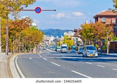 Wakayama, Japan-October 2018 : Townscapes of Wakayama city at autumn.