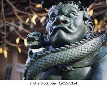 Wakayama, Japan-October 25, 2014: Sculpture of traditional Japanese demon near entrance in front of temple at Mount Koya