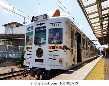 "Wakayama, JP - MAY 4, 2018: The old vintage train named ""Tama Train"" that decorated like a white cat, stopping at Wakayama station."