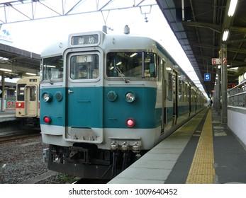 Wakayama - May 19, 2010: The local train taken at the railway station on the city area in May 19, 2010 Wakayama, Japan.