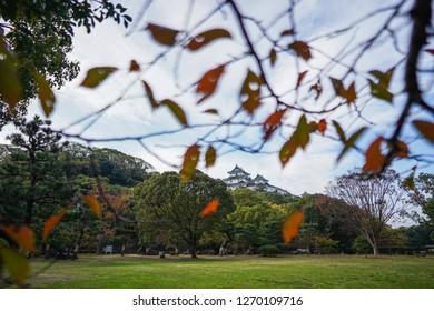 Wakayama - Nov. 17,18: Wakayama Castle over blue sky