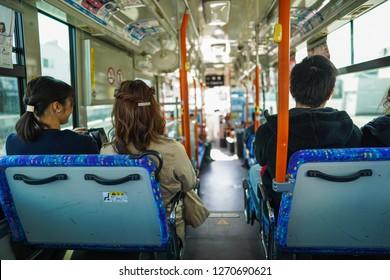 Wakayama - Nov. 17,18: Japanese commuter riding a bus depart from Wakayama Station