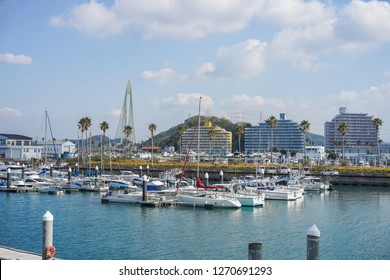 Wakayama - Nov. 17,18: Yacht port located in Marina City, Wakayama