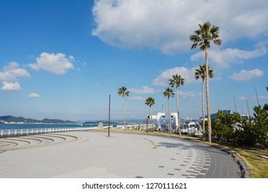 Wakayama - Nov. 17,2018: Entrance to the beach in Marina City, Wakayama