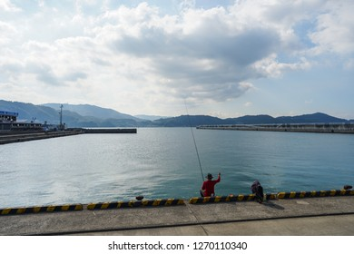 Wakayama - Nov. 17,2018: Japanese is seen fishing at Marina City, Wakayama