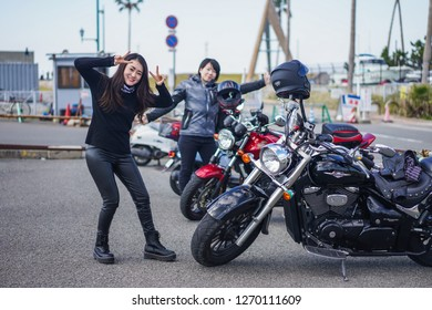 Wakayama - Nov. 17,2018: Japanese women posed for photograph at Marina City in Wakayama
