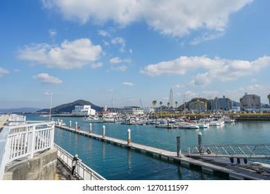 Wakayama - Nov. 17,2018: Yacht port located in Marina City, Wakayama