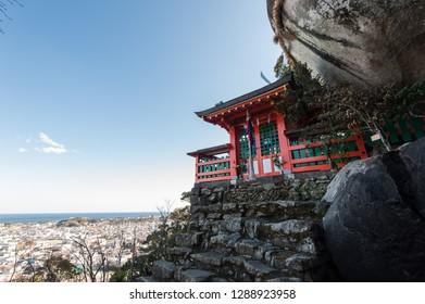 Wakayama,Japan - 11 February 2018 :Kamikura Jinja is a Shinto Shrine located in Shingu (Wakayama Prefecture),it is part of the UNESCO World Heritage Site.