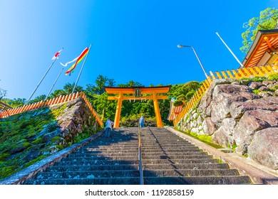 Wakayama,Japan - 28 September 2018 :Kumano taisha and Nachi Falls in Nachikatsuura, Wakayama Prefecture, Japan, is one of the best-known waterfalls in Japan.