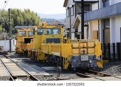 WAKAYAMA,JAPAN,MAR 25-2019: Ballast train. A large cargo yellow train at the Wakayama station,wakayama city japan.