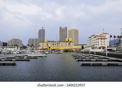 WAKAYAMA,JAPAN,MAR 26 2019: Boats and yachts moored at marina sailing Center, Wakayama, Japan.