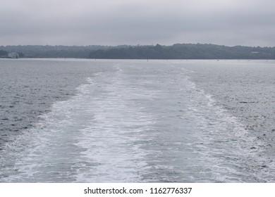 The wake behind a boat
