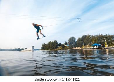 Wake boarding sportsman portrait, sport and active lifestyle, man photo portrait