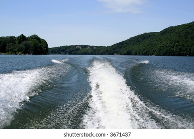 Wake from a boat on Candlewood Lake, CT.