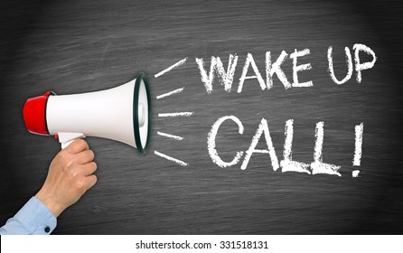 Wake up Call - female hand with megaphone and text