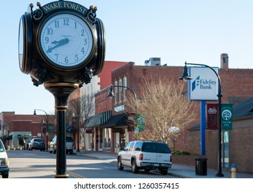 Wake Forest, NC/North Carolina- 05/21/2016: The Town Clock of Wake Forest North Carolina
