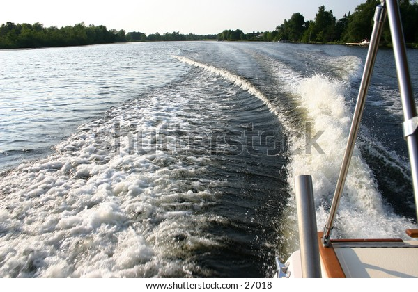 The wake of a motor boat