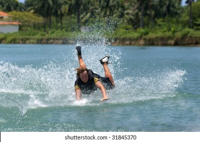 Wake skater is falling into the river