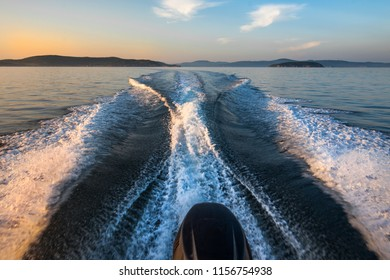 Wake track at sea surface after a boat