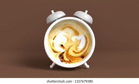 Wake up vintage morning shaped coffee. Concept illustrating that it's time to have coffee. 3D rendering.