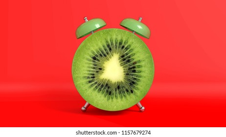 Wake up vintage morning shaped kiwi. Concept illustrating that it is time to take vitamins. 3D rendering.