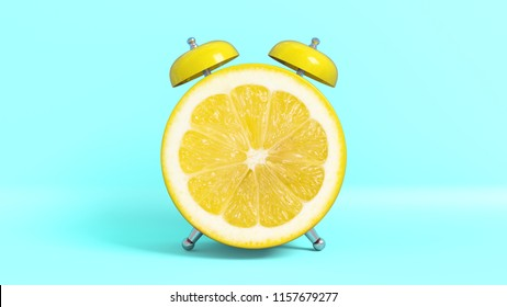 Wake up vintage morning shaped lemon. Concept illustrating that it is time to take vitamins. 3D rendering.