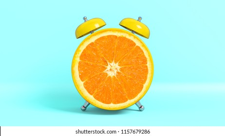 Wake up vintage morning shaped orange. Concept illustrating that it is time to take vitamins. 3D rendering.